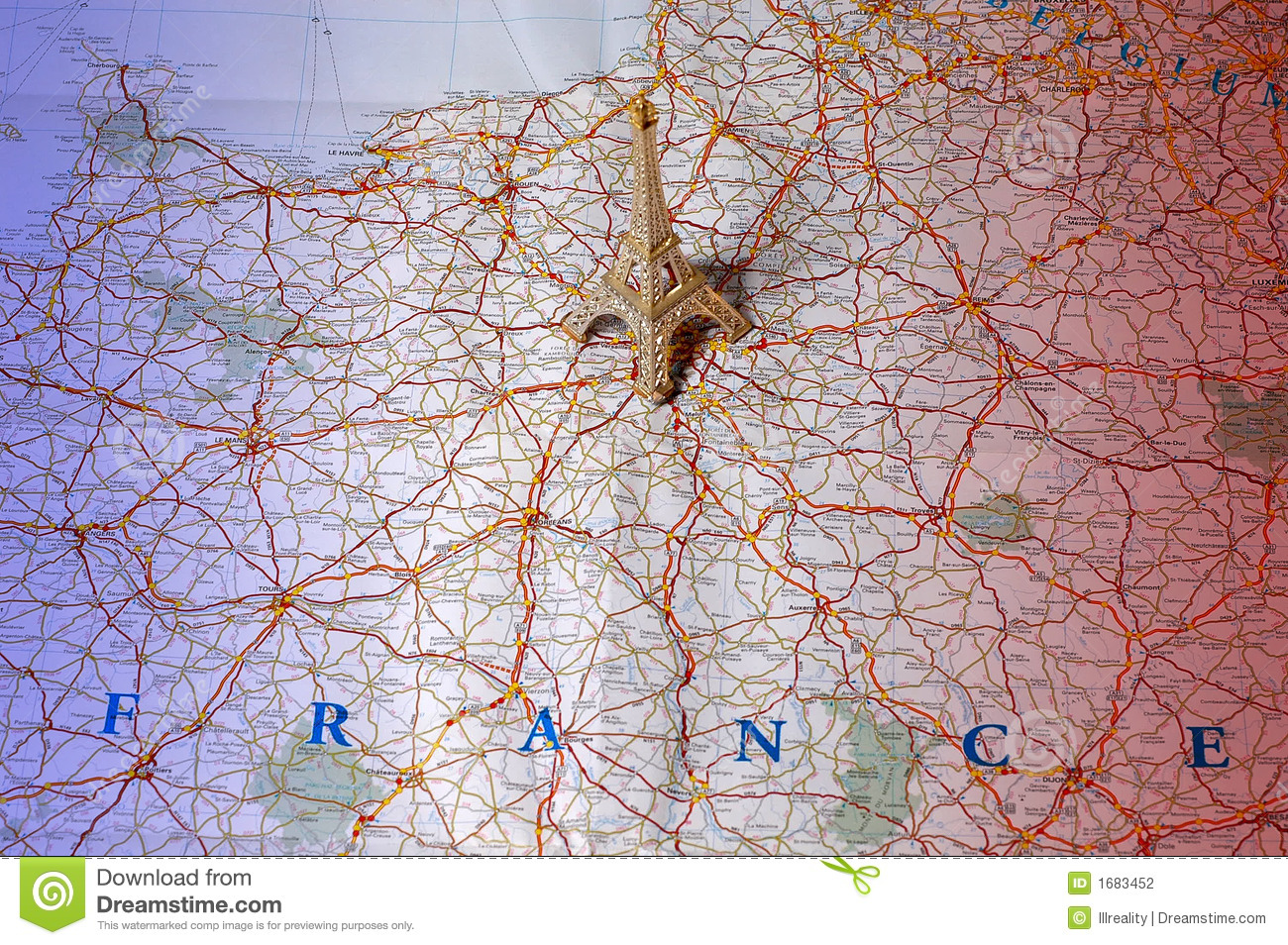 Downloadable Road Map Of France.Map Of France In National Colors Stock Photo Image Of Concept