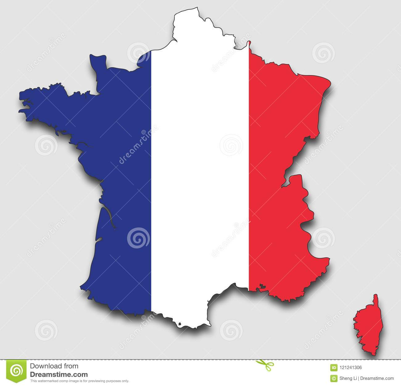 Montpellier Map Of France.Map Of France Filled With The National Flag Stock Vector