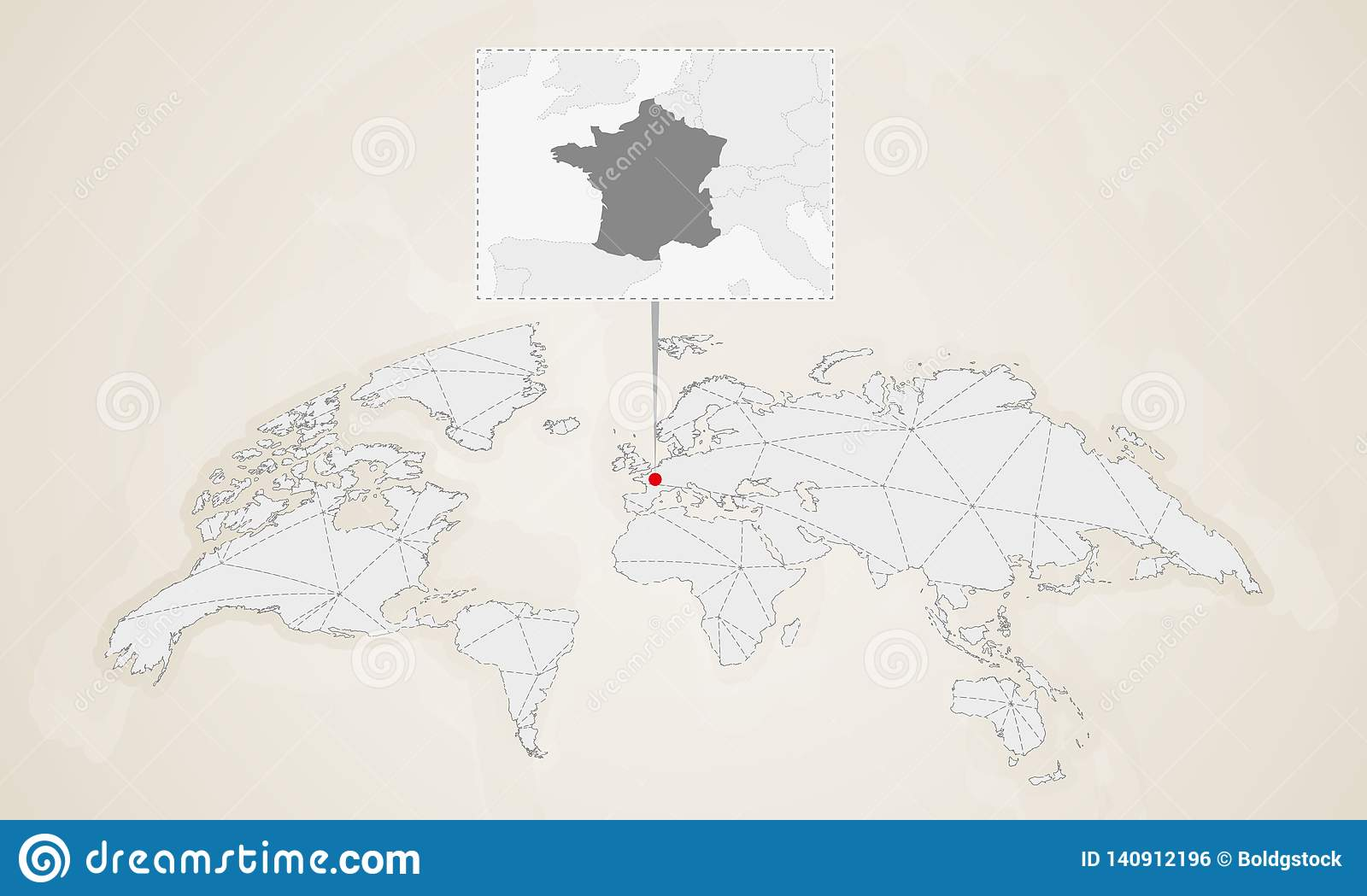 Country Map Of France.Map Of France With Neighbor Countries Pinned On World Map Stock