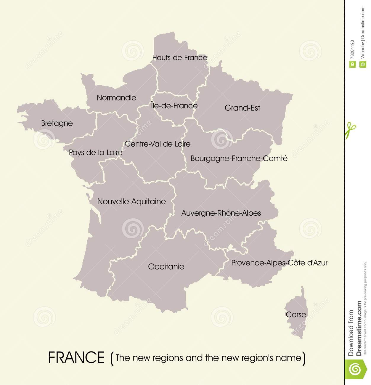 Map Of France With The New Regions Stock Vector Illustration of