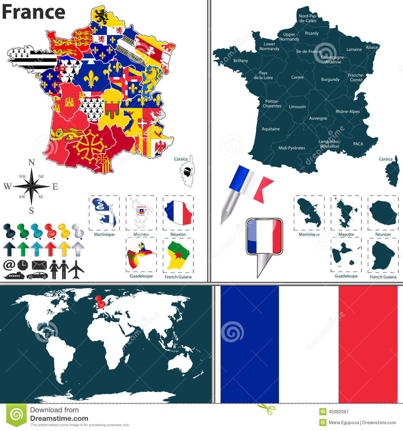 Map of France stock vector. Illustration of limousin - 45082097
