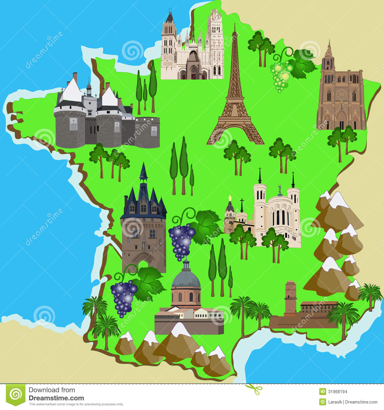 Travel Map Of France.Map Of France Stock Vector Illustration Of Rouen Marseille 31968194