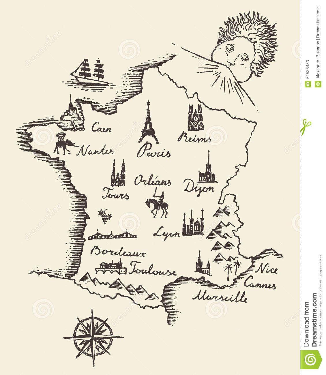 Map Of France Drawing.Map Of France Vintage Engraved Illustration Sketch Stock Vector