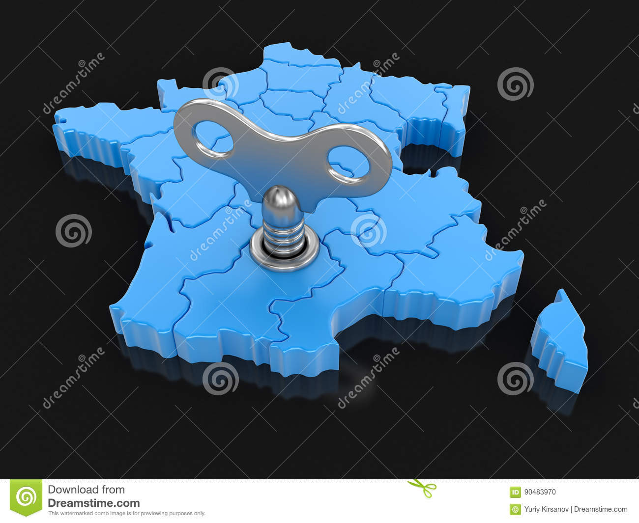 Map Of France With Key.Map Of France With Winding Key Stock Illustration Illustration Of