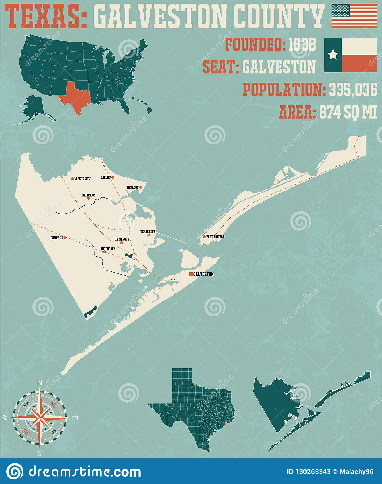 Map Of Galveston County In Texas Stock Vector Illustration