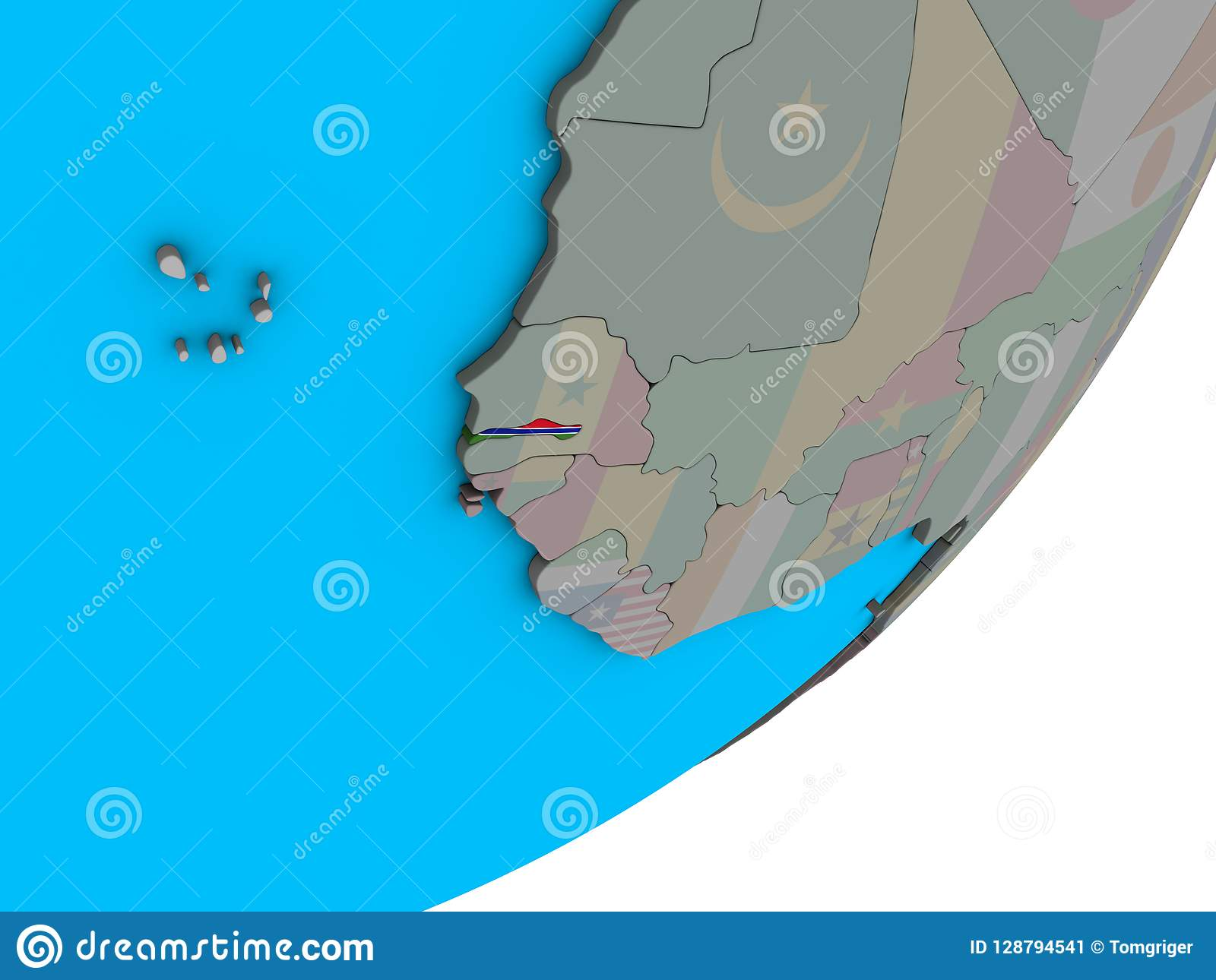 Gambia On Africa Map.Map Of Gambia With Flag On Globe Stock Illustration Illustration