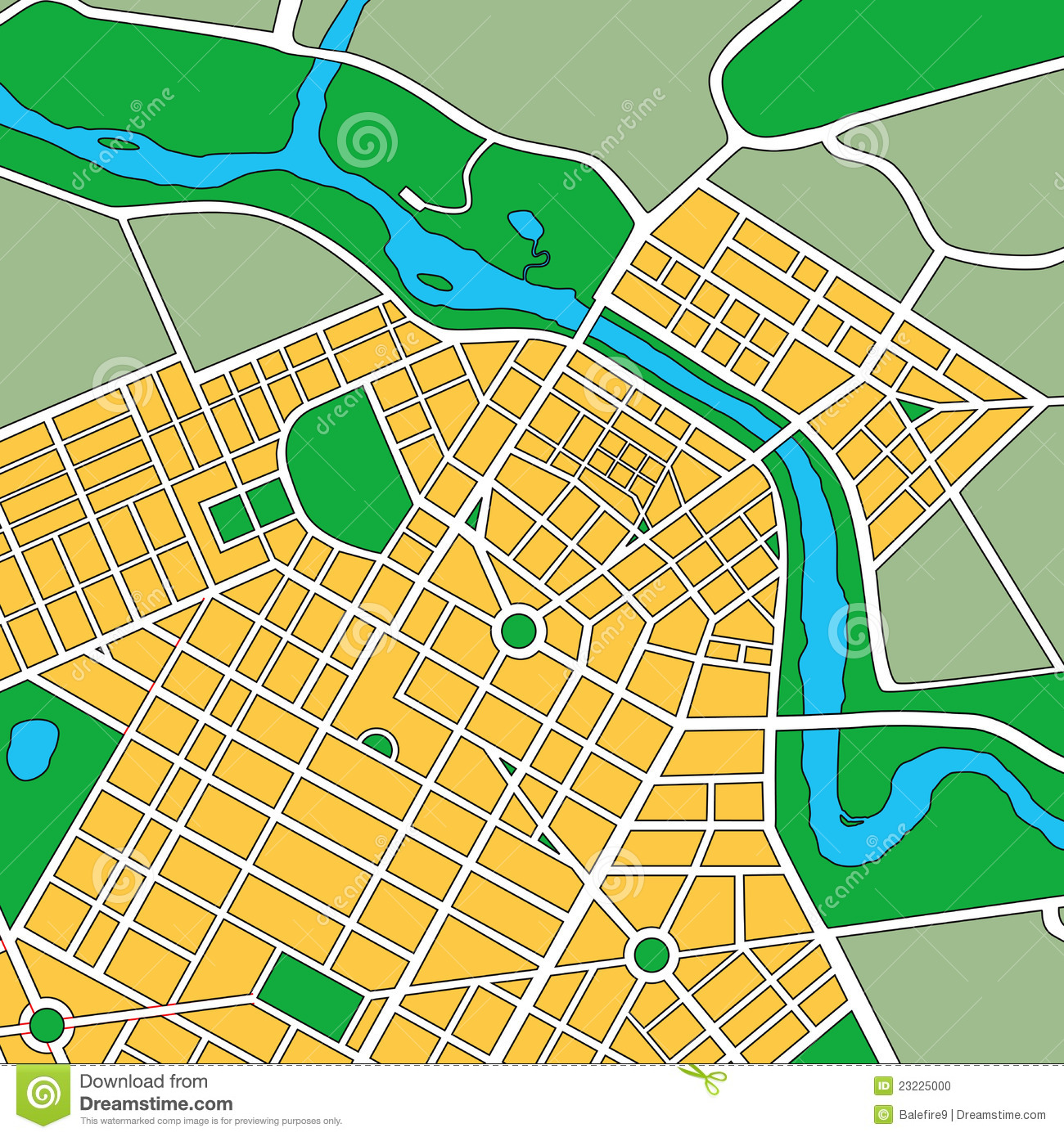 Map Of Generic Urban City Stock Photo Image 23225000
