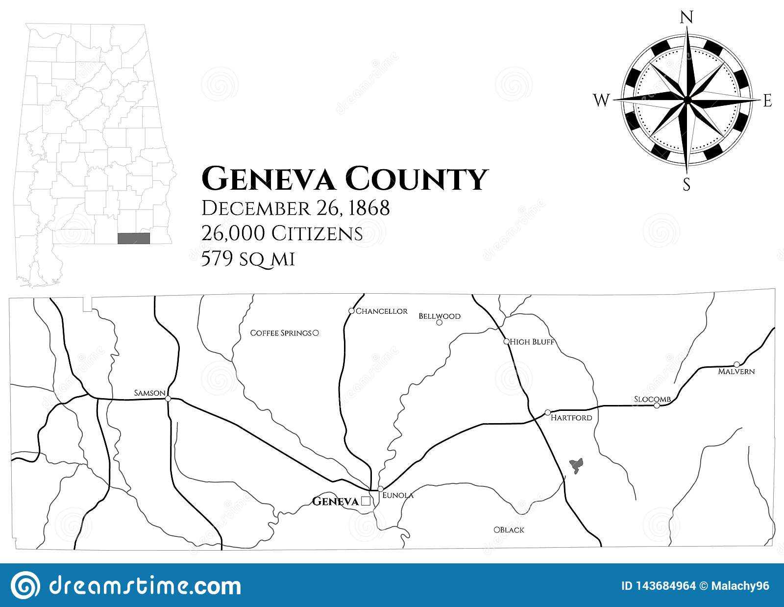 Map Of Geneva County In Alabama Stock Vector - Illustration ...