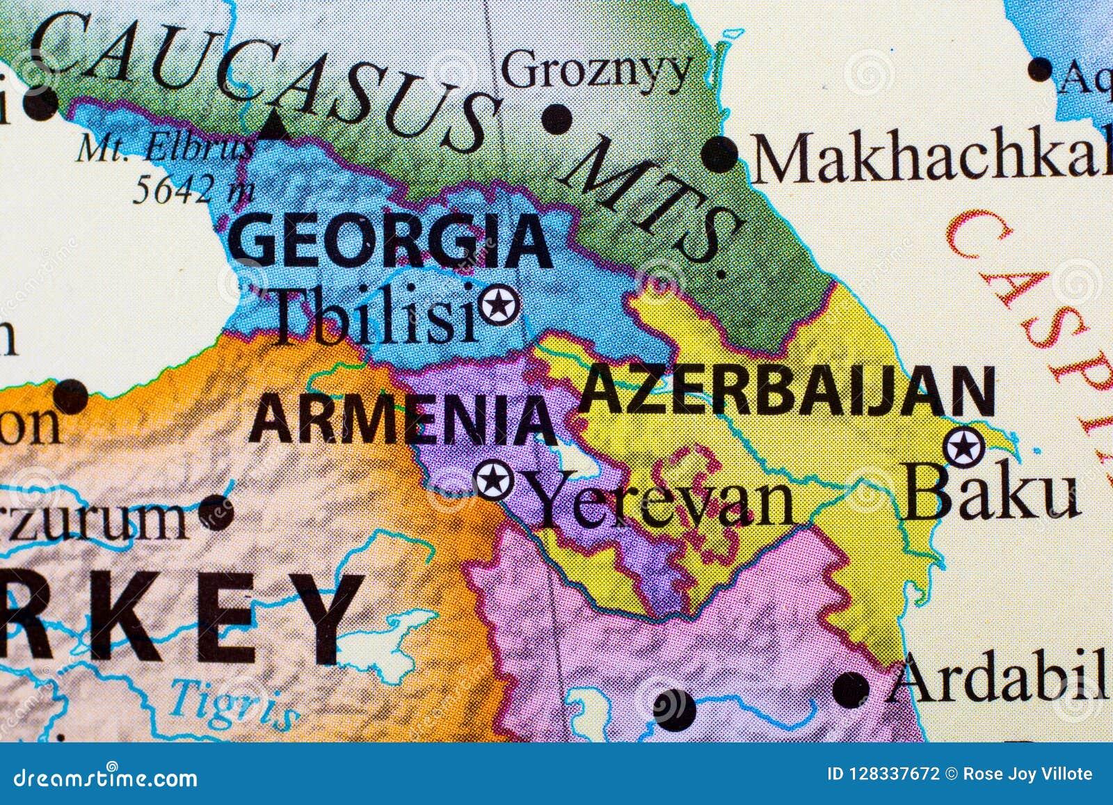 Map Of Georgia Armenia And Azerbaijan Stock Illustration