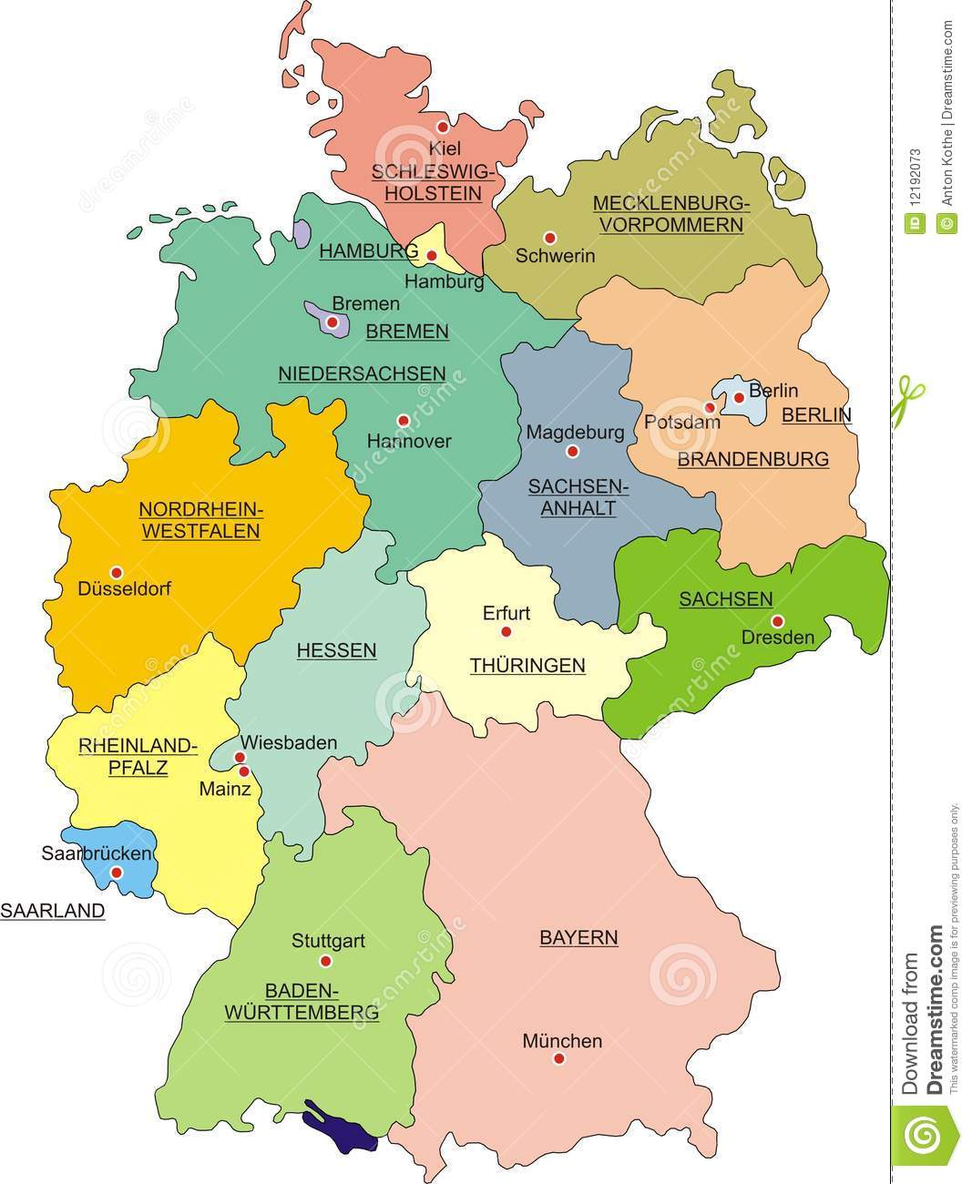 Map Of Germany Stock Vector Illustration Of Frontier 12192073