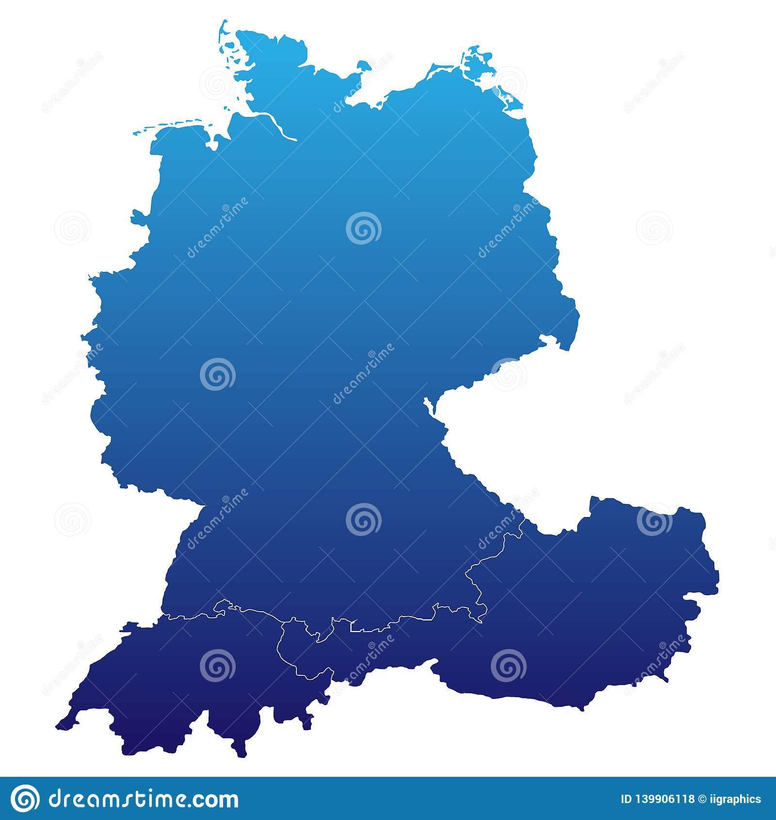 Map Of Germany, Austria And Switzerland Stock Illustration ...