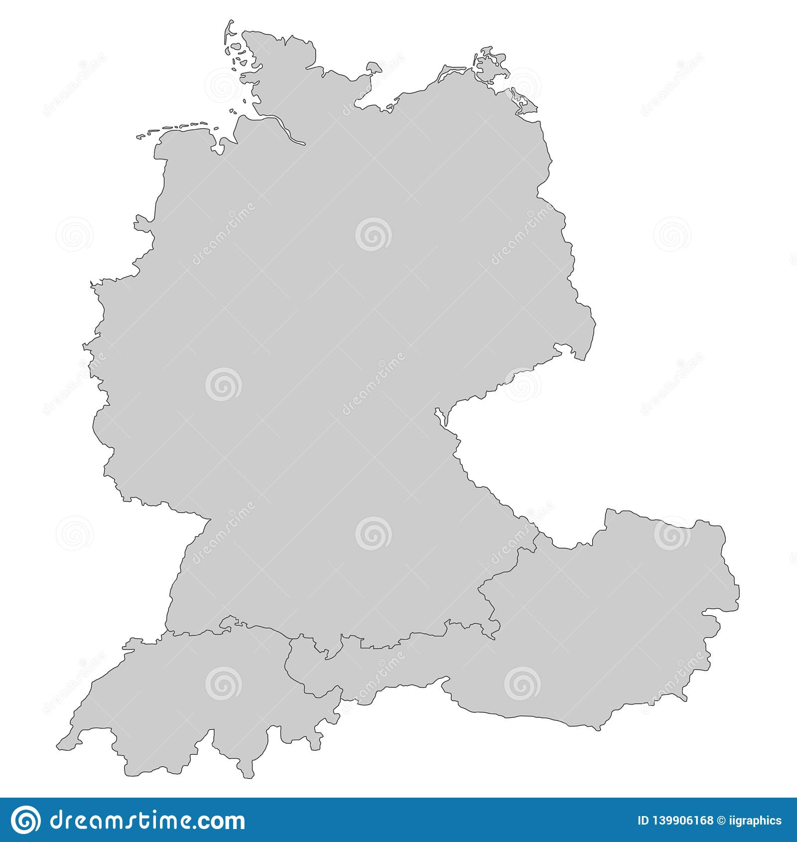 Map Of Germany And Switzerland.Map Of Germany Austria And Switzerland Stock Illustration