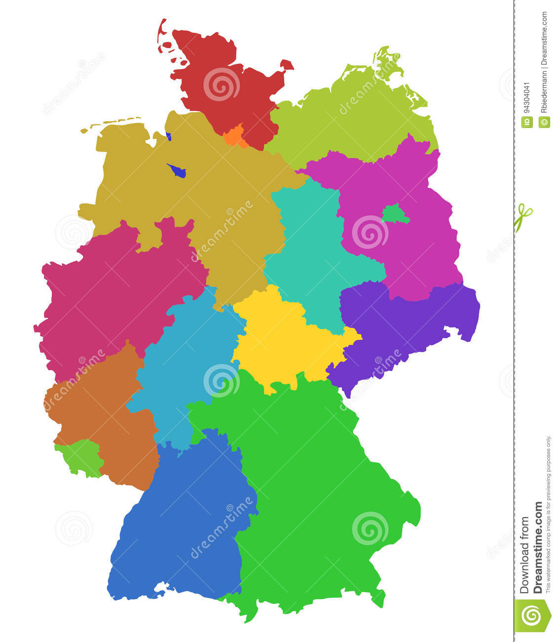 Map Of Germany With States.Map Of Germany Stock Vector Illustration Of States Thuringia