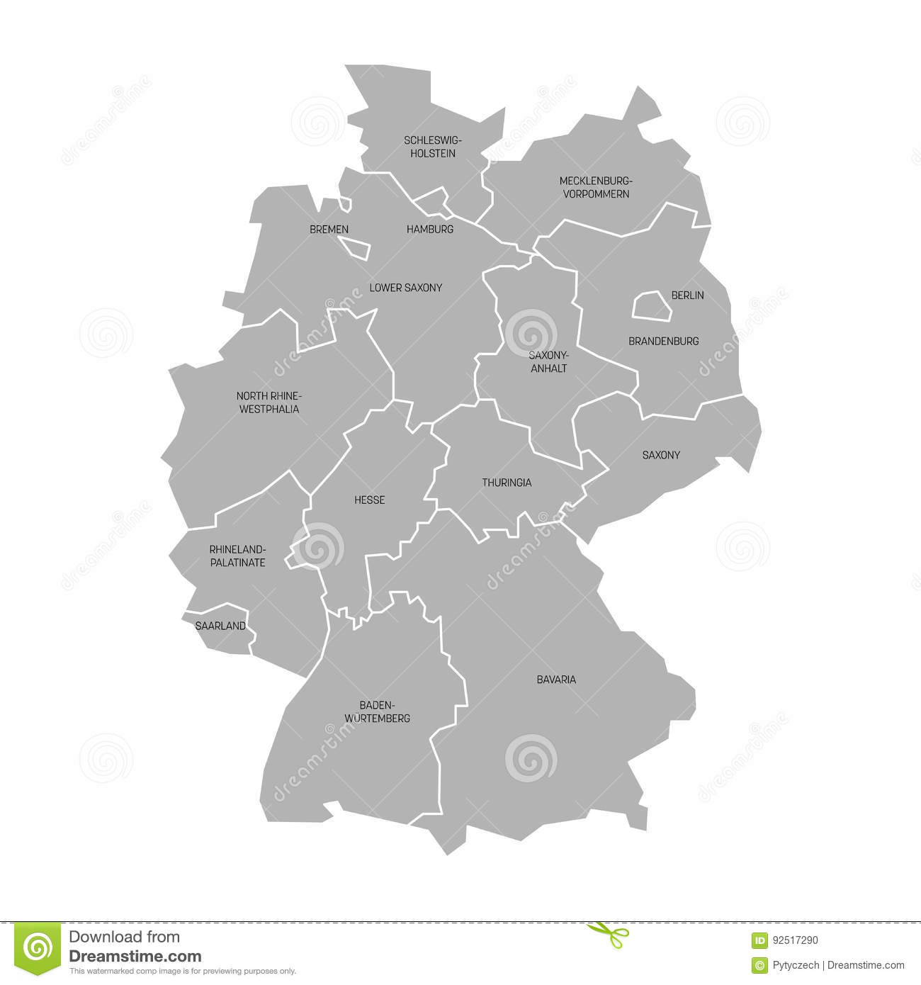 Map Of Germany With States.Map Of Germany Devided To 13 Federal States And 3 City States