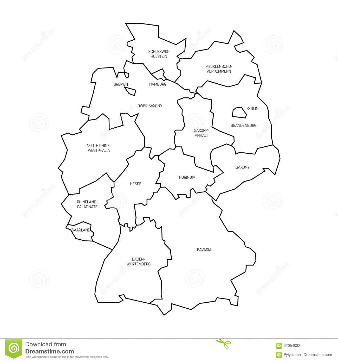 Map Of Germany Devided To Federal States And Citystates - Germany map simple