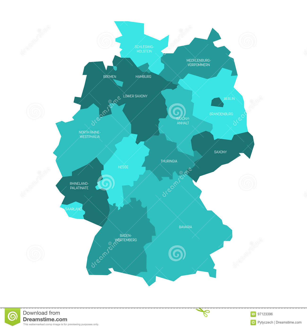 Map Of Germany Divided.Map Of Germany Divided To 13 Federal States And 3 City States