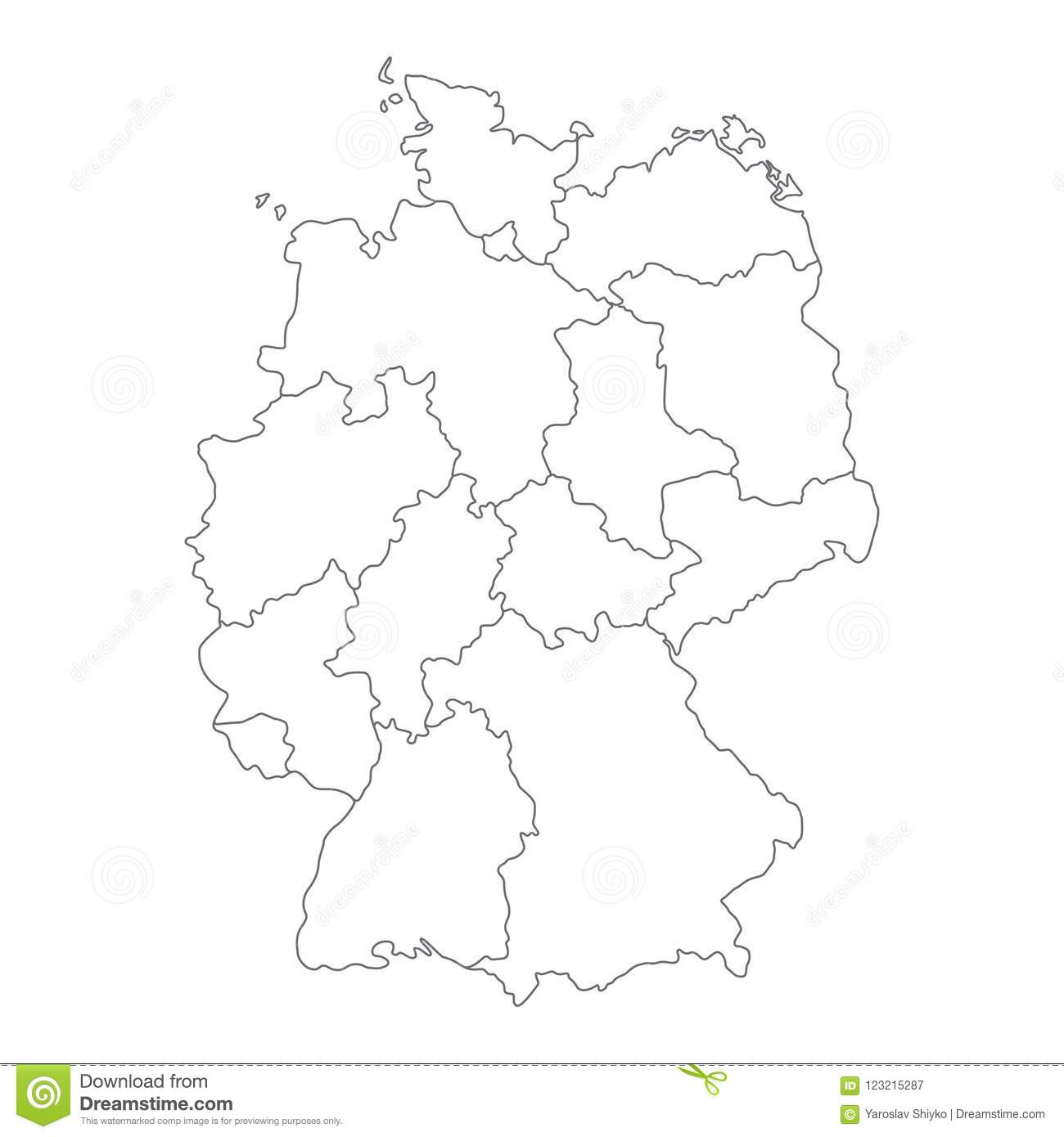 Map Of Germany Divided To Federal States And City-states. Simple ...
