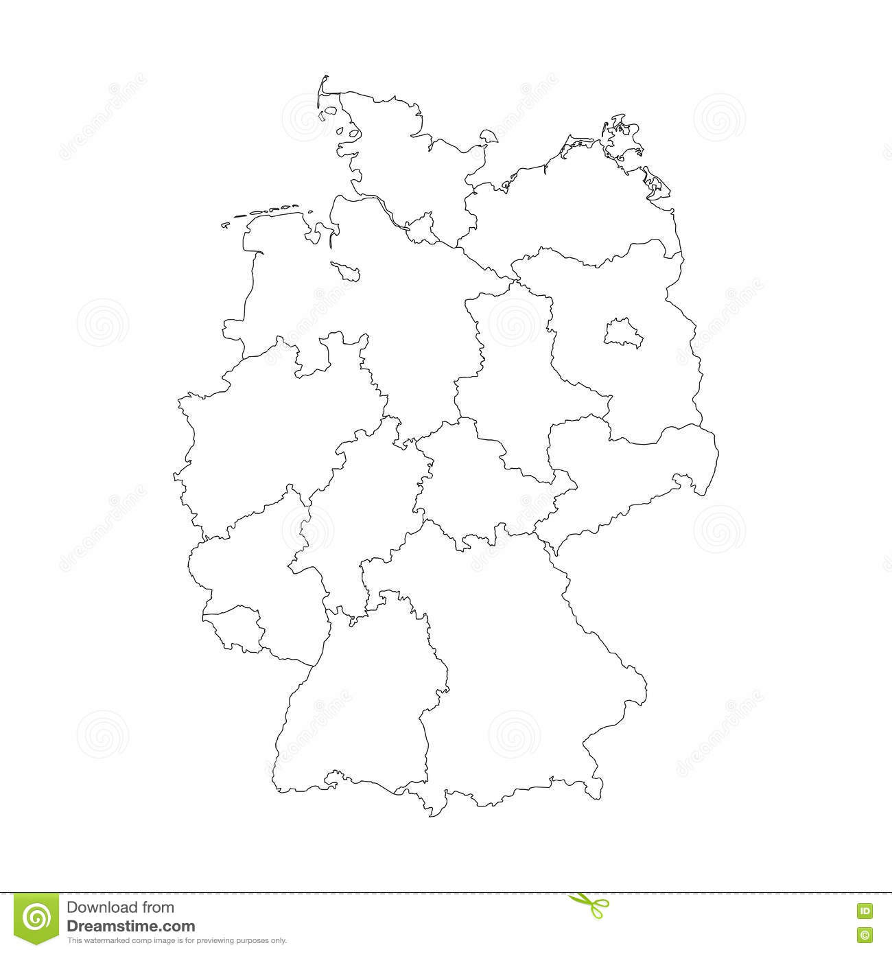 Map Of Germany Divided To Federal States Stock Vector Image - Germany map federal states