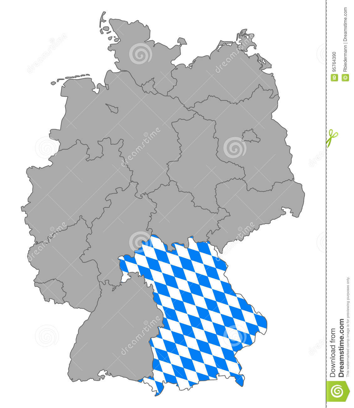 Map Of Germany With Flag Of Bavaria Stock Vector Illustration Of