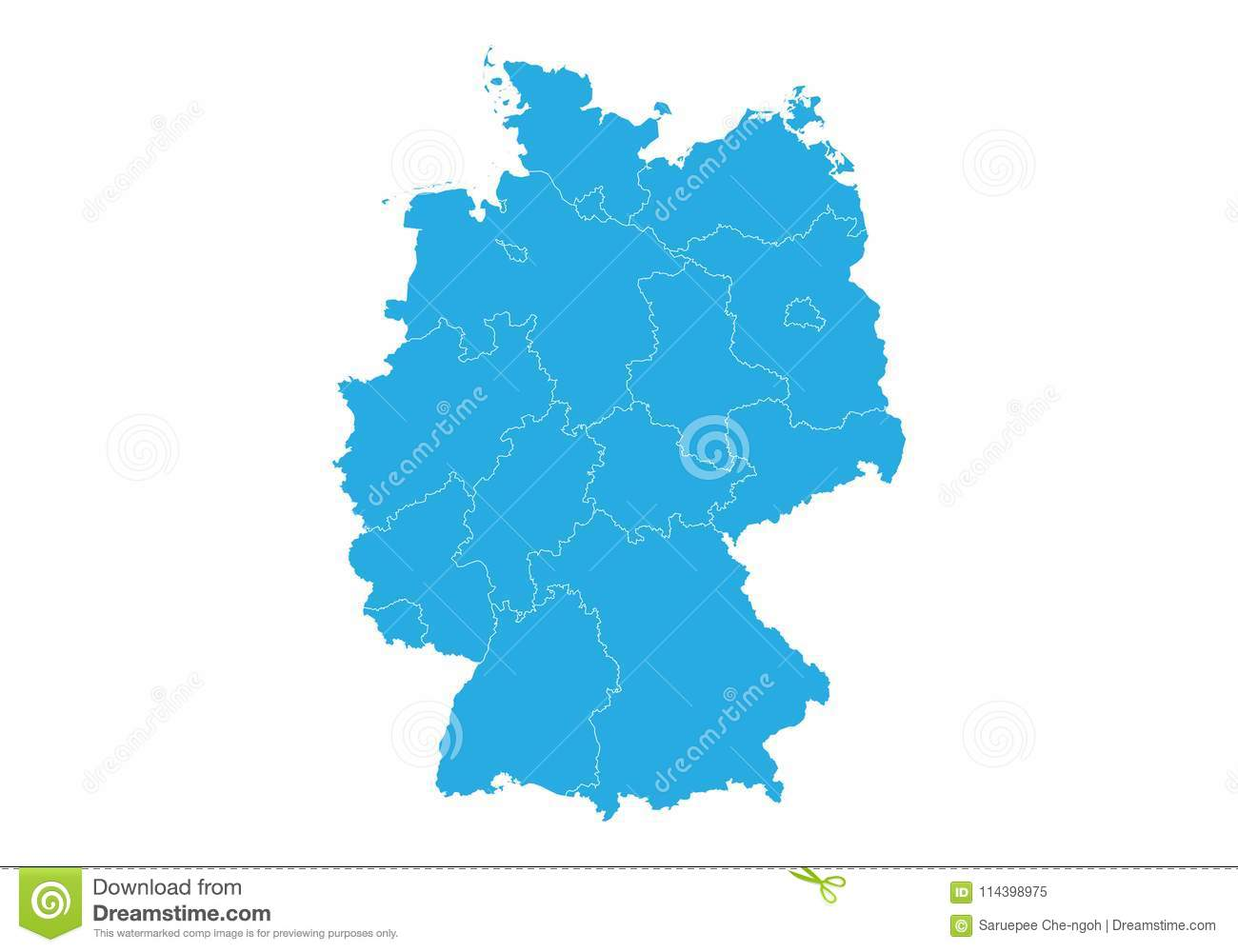 Outline Map Of Germany.Map Of Germany High Detailed Vector Map Germany Stock Vector