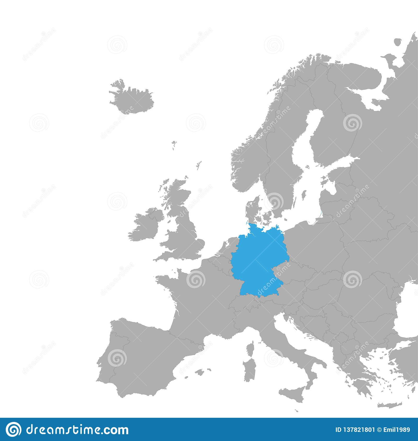 Map Of Europe With Germany Highlighted.The Map Of Germany Is Highlighted In Blue On The Map Of Europe Stock
