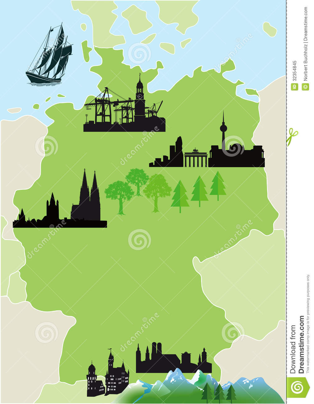 Map Of Germany Mountains.Map Of Germany Stock Vector Illustration Of Graphic 32354845