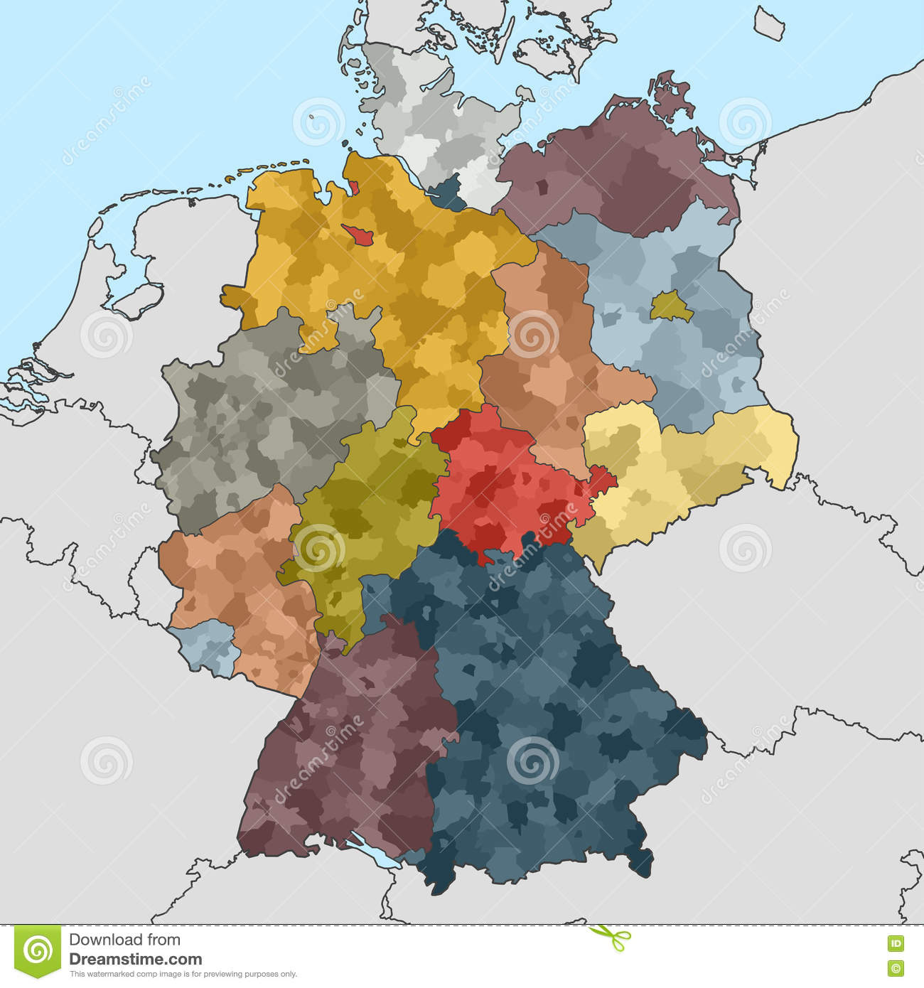 Map Of Germany And Surrounding Countries.Map Of Germany With Neighboring Countries Stock Vector