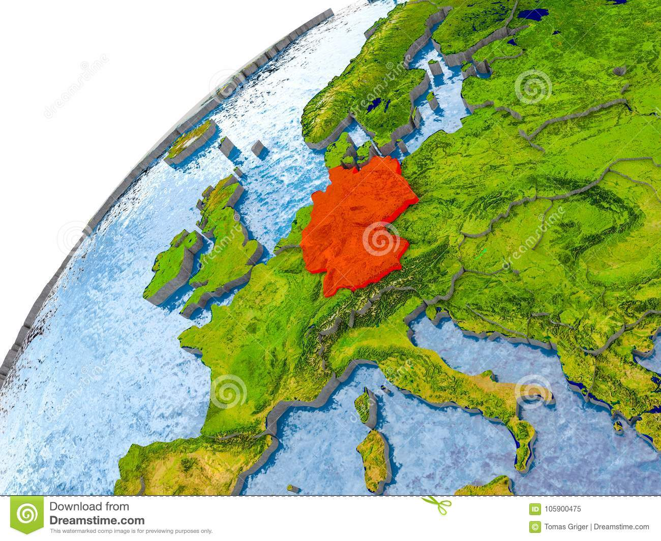 Map Of Germany Coast.Map Of Germany In Red On Globe Stock Illustration Illustration Of