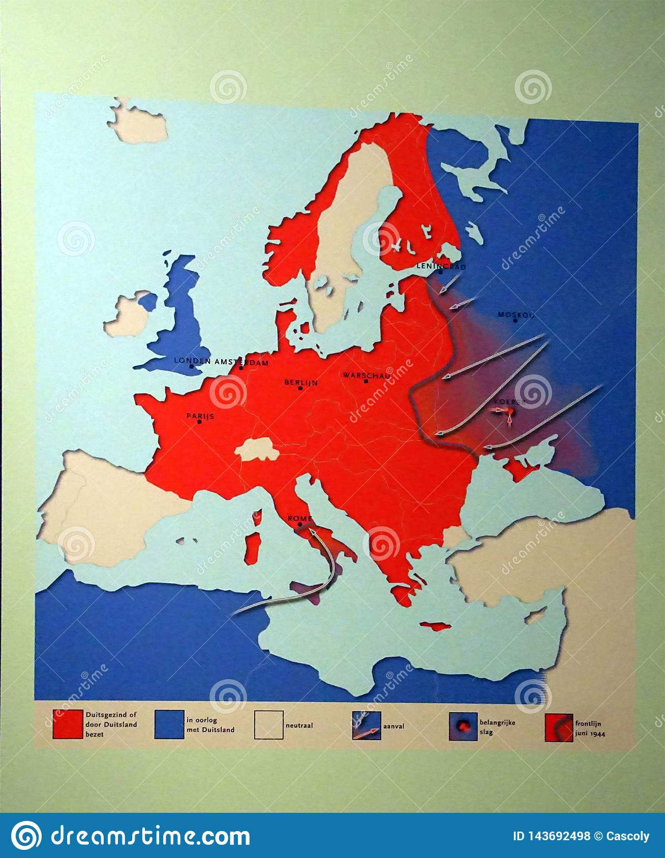Map Of Germany\'s Invasions And Retreats From 1940 To 1944 ...