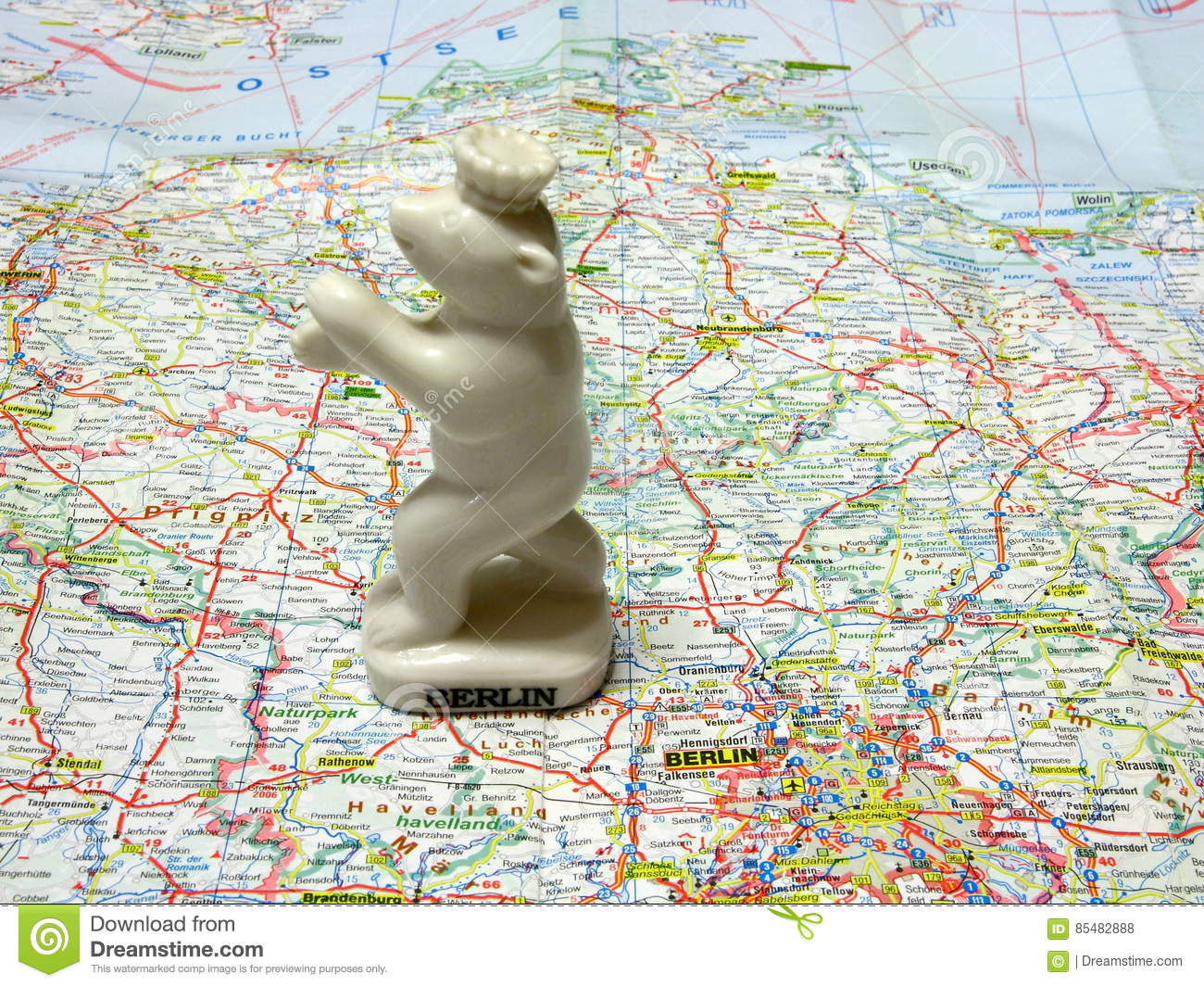 Map Of Germany Souvenir Of Berlin. Stock Photo - Image of region ...