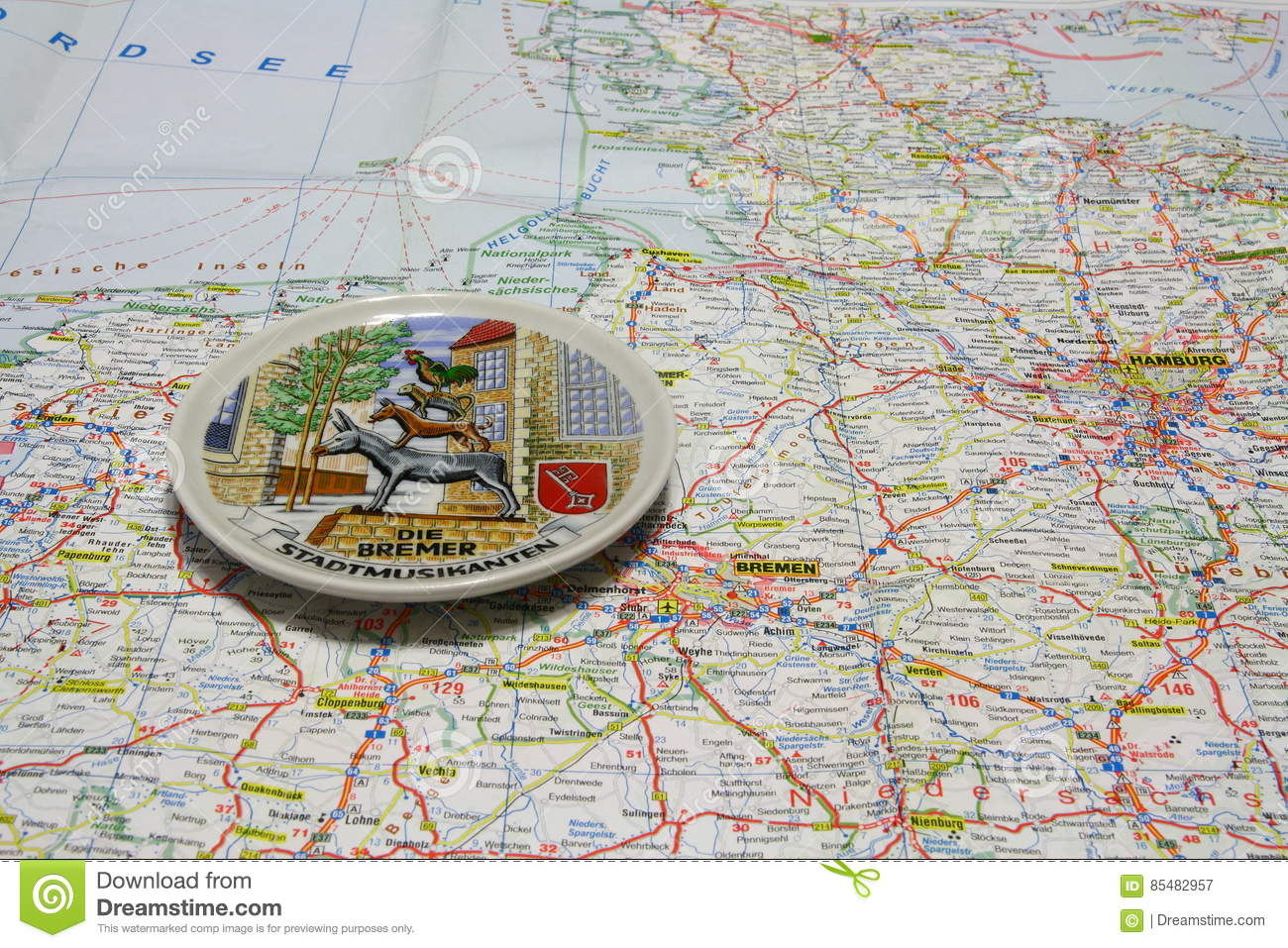 Map Of Germany Souvenir Plate Of Bremen Stock Image Image Of