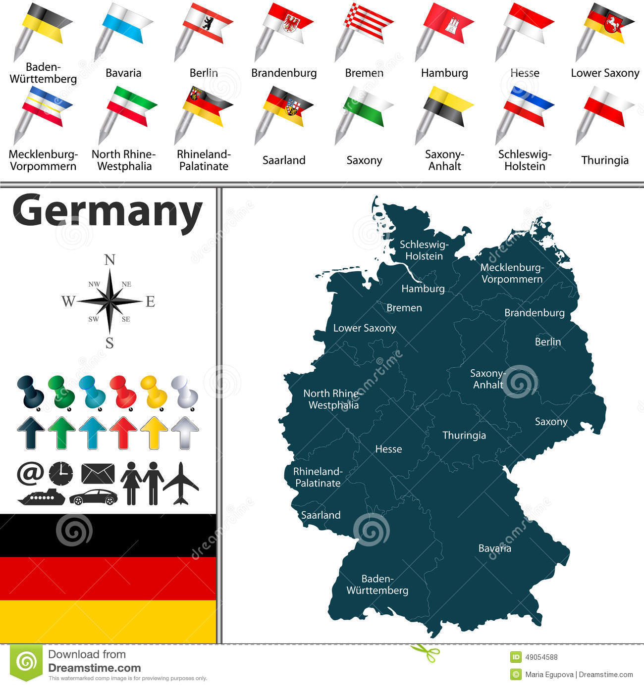 Map Of Germany Vector Image 49054588 – Map of German Regions