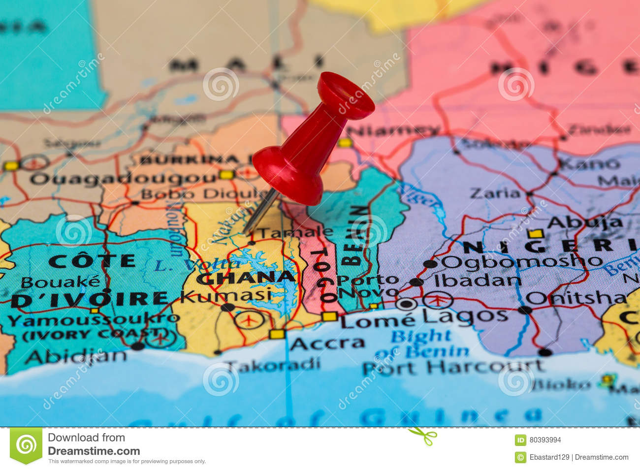 Map Of Ghana With A Red Pushpin Stuck Stock Photo - Image of plan ...