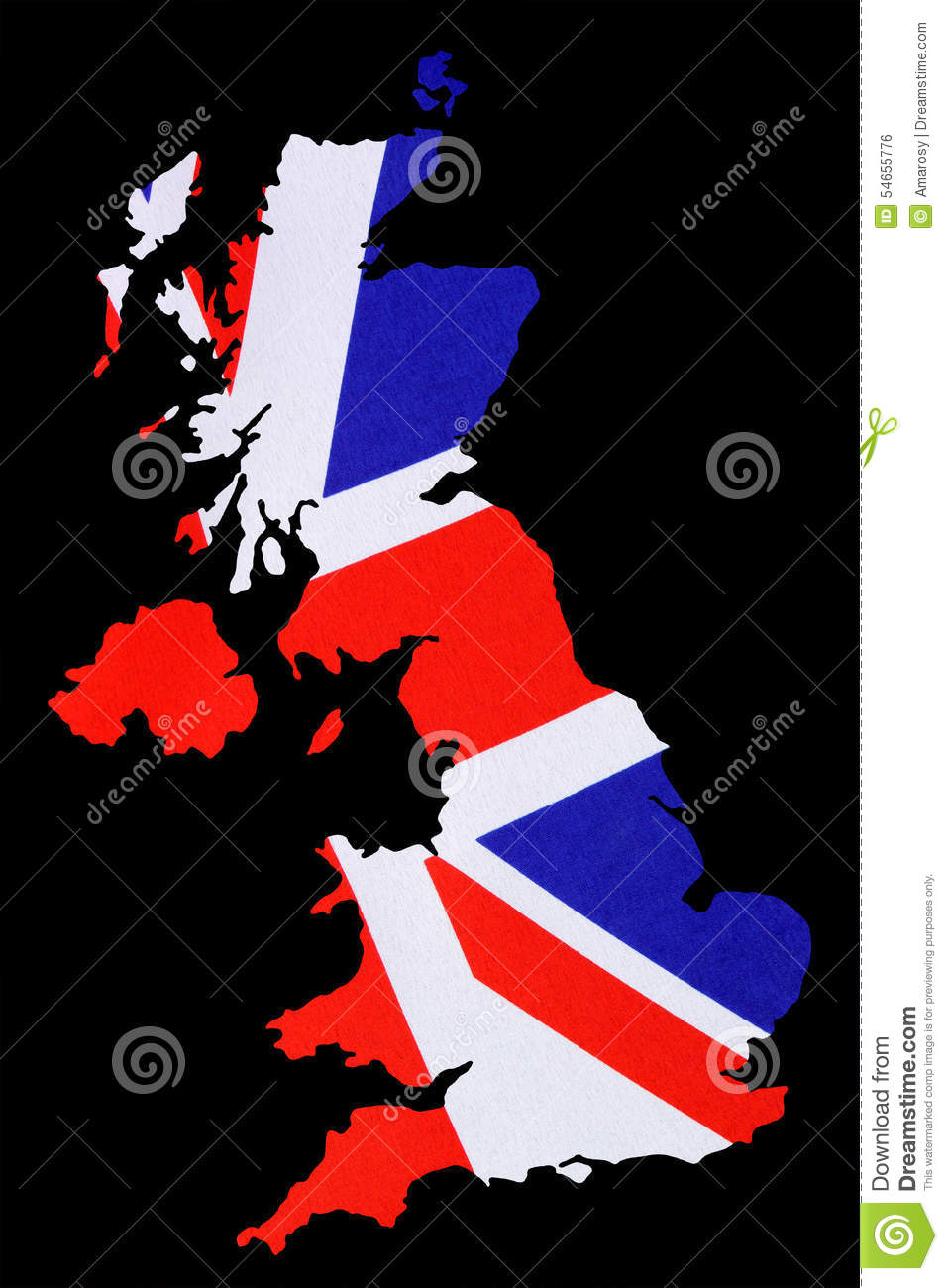 map of great britain cut out with british flag stock illustration