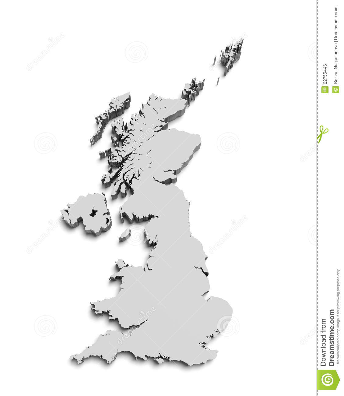 map of great britain on white isolated royalty free stock image