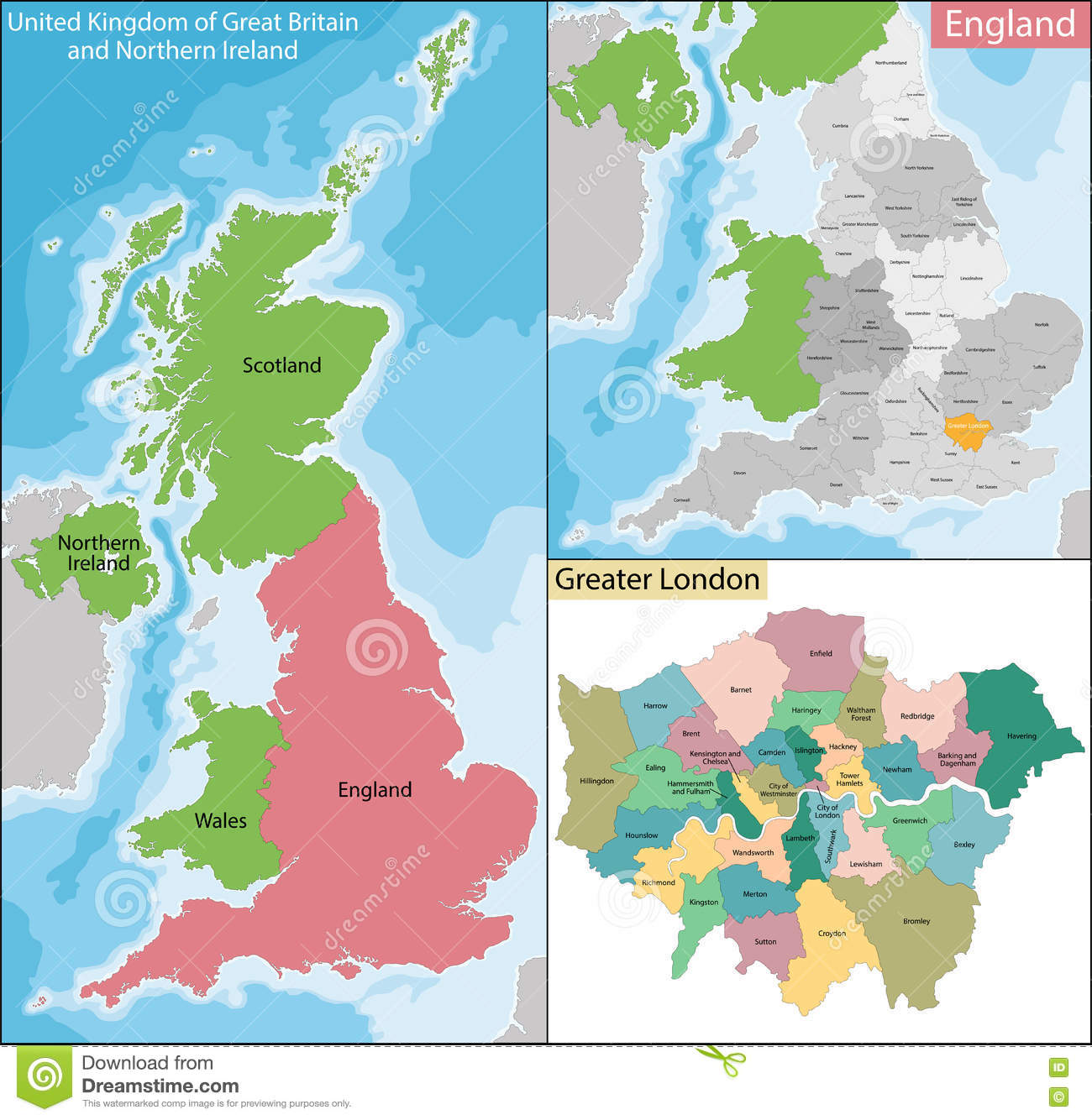 Map Of Greater London Vector Image 74255830 – Map of Greater London England