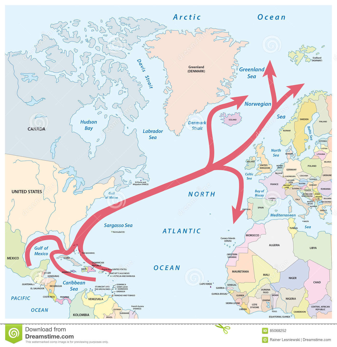Map Of The Gulf And North Atlantic Stream In The Atlantic Ocean ...