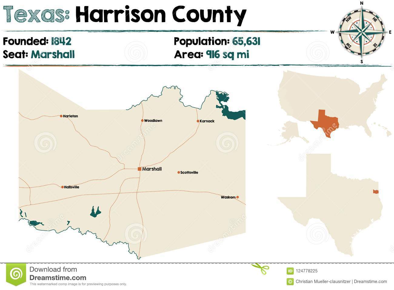 Map Of Harrison County In Texas Stock Vector - Illustration of ...