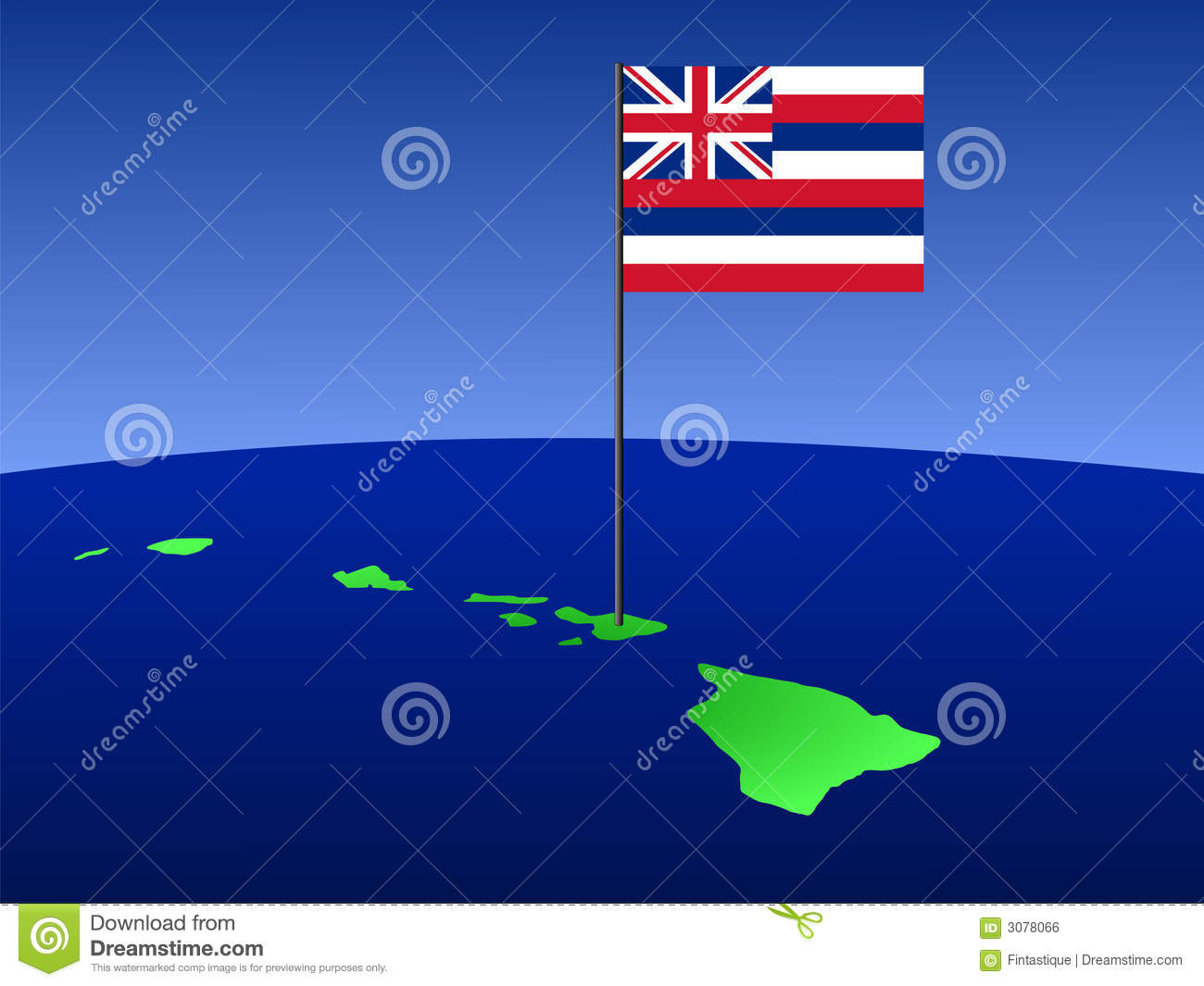 Map Of Hawaii With Flag Royalty Free Stock Image - Image 3078066