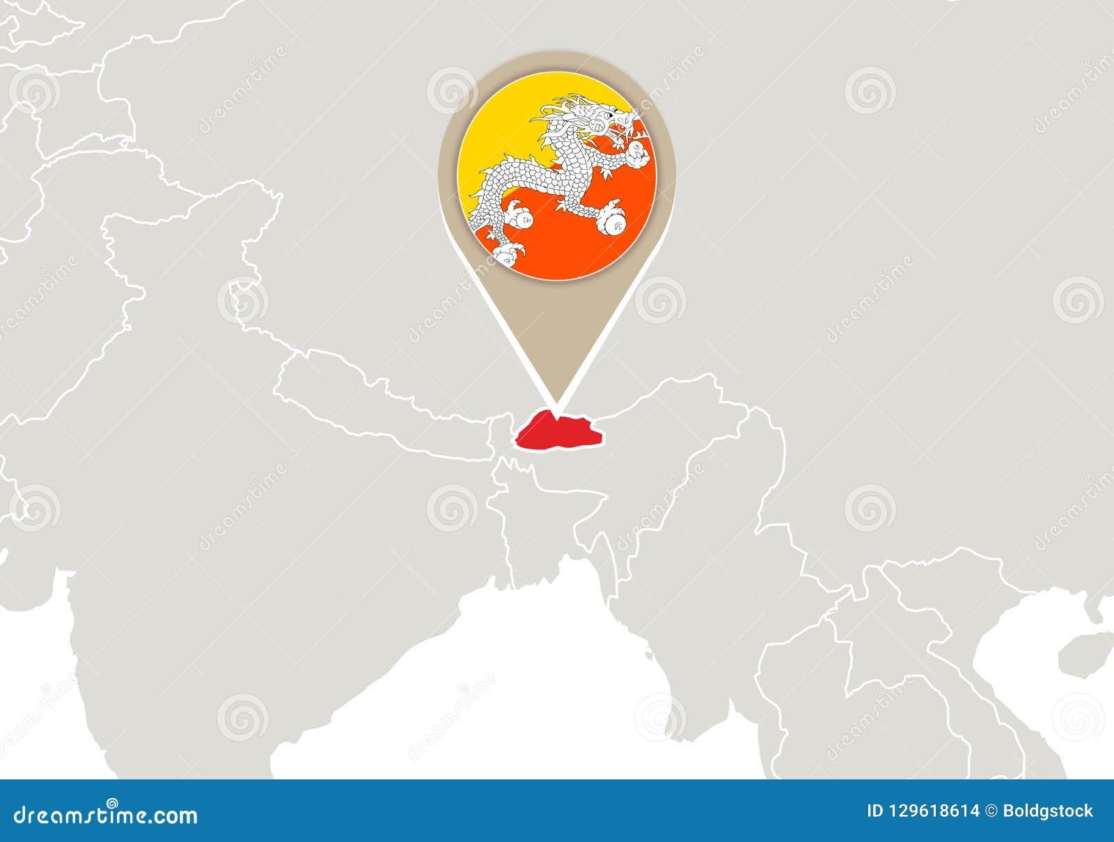 World Map Bhutan.Bhutan On World Map Stock Vector Illustration Of Direction 129618614