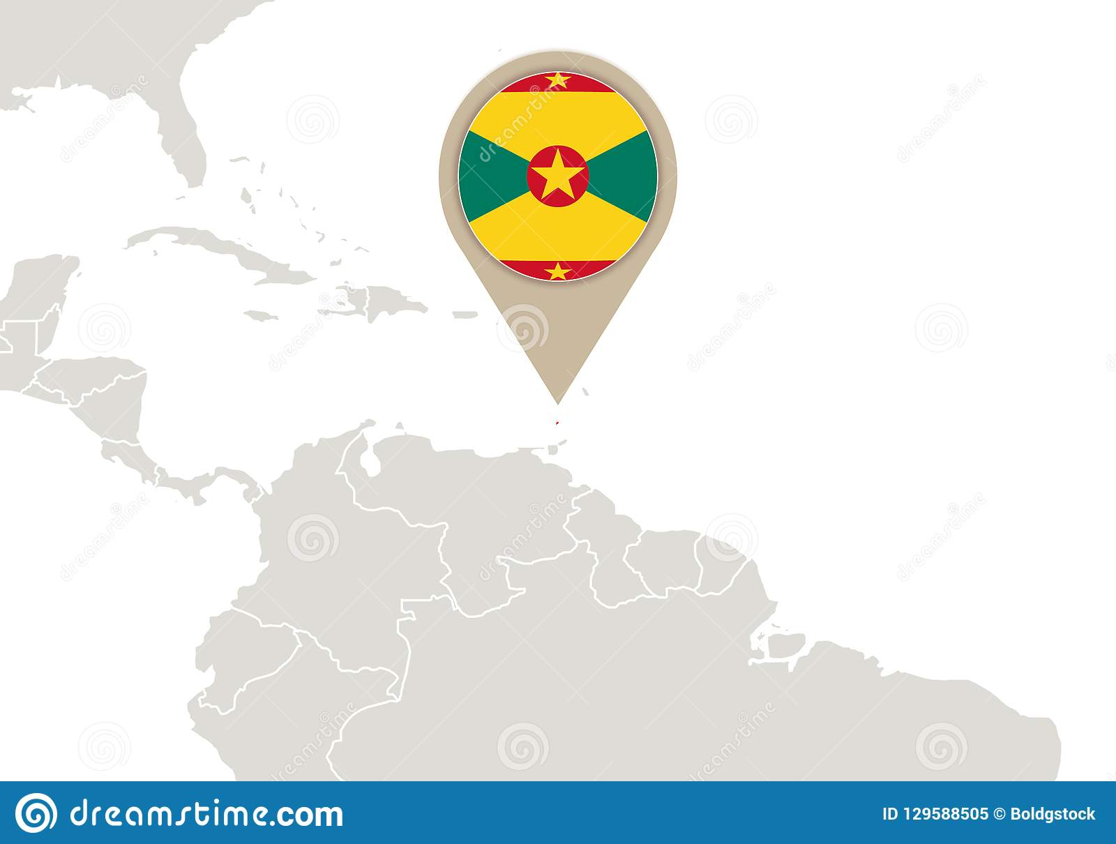 Picture of: Grenada On World Map Stock Vector Illustration Of Country 129588505