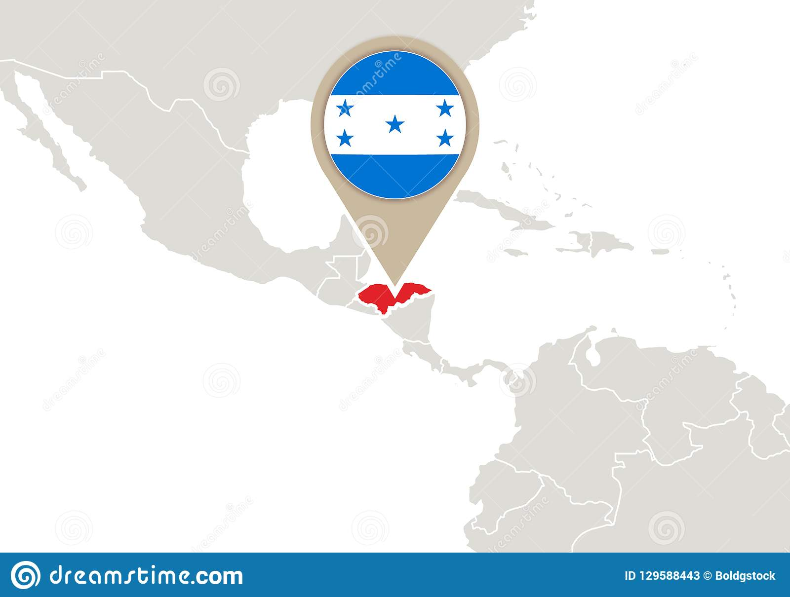 Honduras On World Map Stock Vector Illustration Of Locations