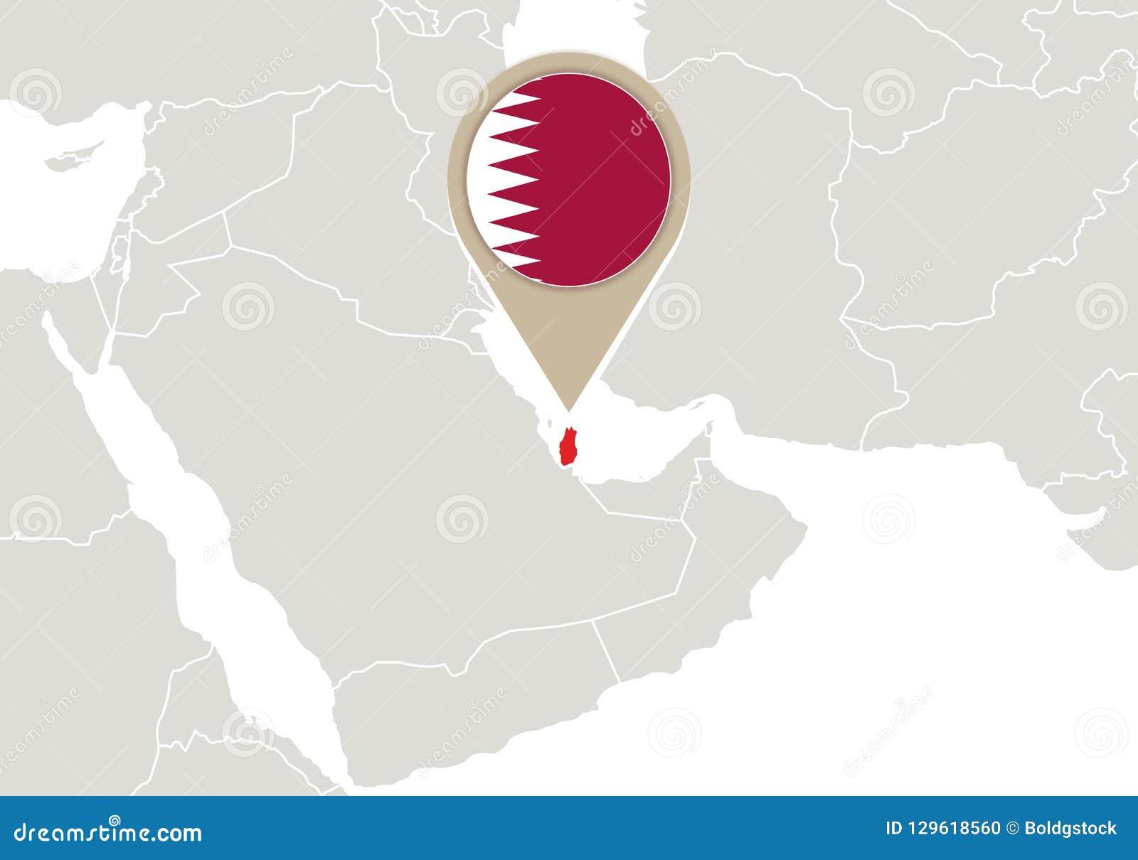 Qatar on World map stock vector. Illustration of city - 129618560 on
