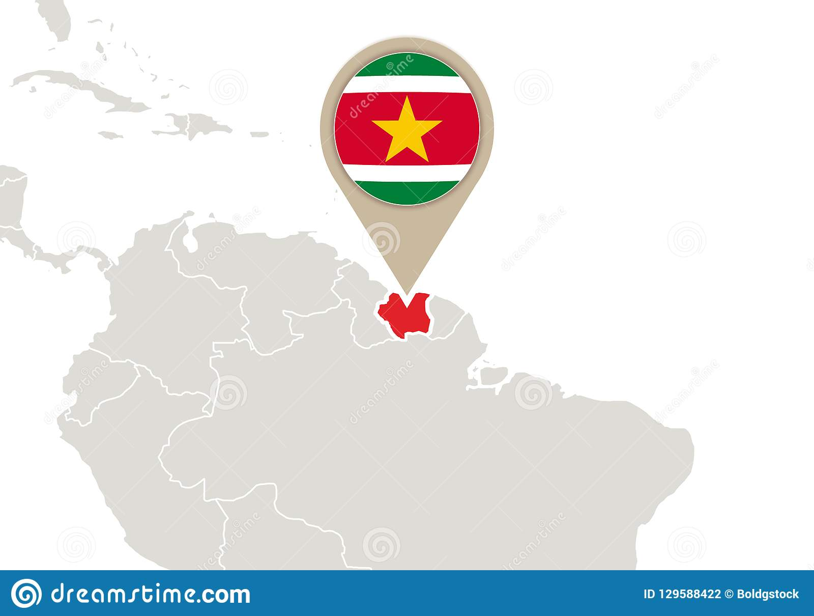 Suriname On World Map Stock Vector Illustration Of Suriname 129588422
