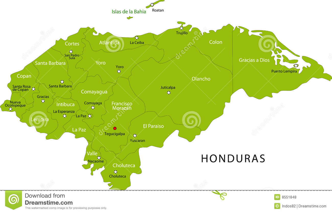 Honduras Map Royalty Free Stock Images Image - Cities map of honduras