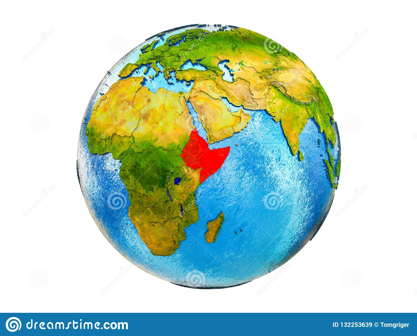 Map Of Africa From Space.Map Of Horn Of Africa On 3d Earth Isolated Stock Image Image Of