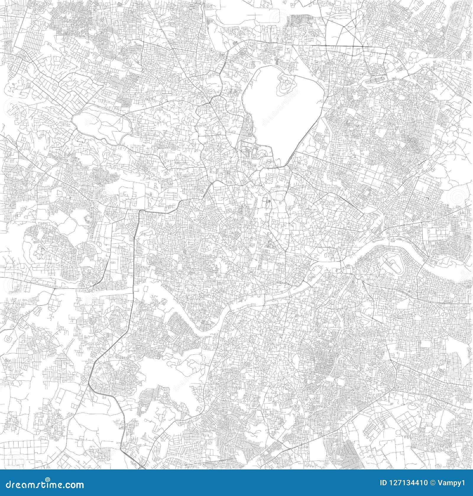 Map Of Hyderabad Telangana Satellite View Black And White Map