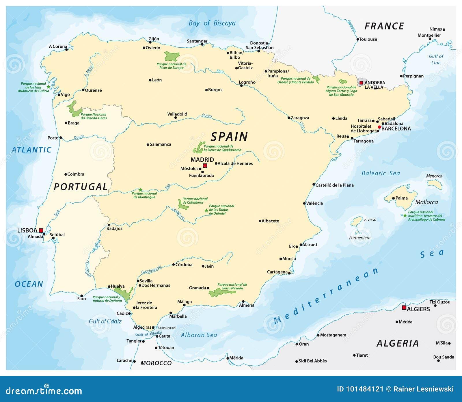Map Of The Iberian Peninsula Stock Vector - Illustration of ...