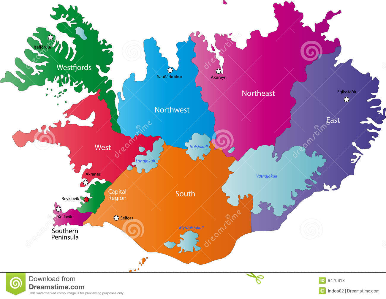 Iceland map designed in illustration with provinces colored in bright ...