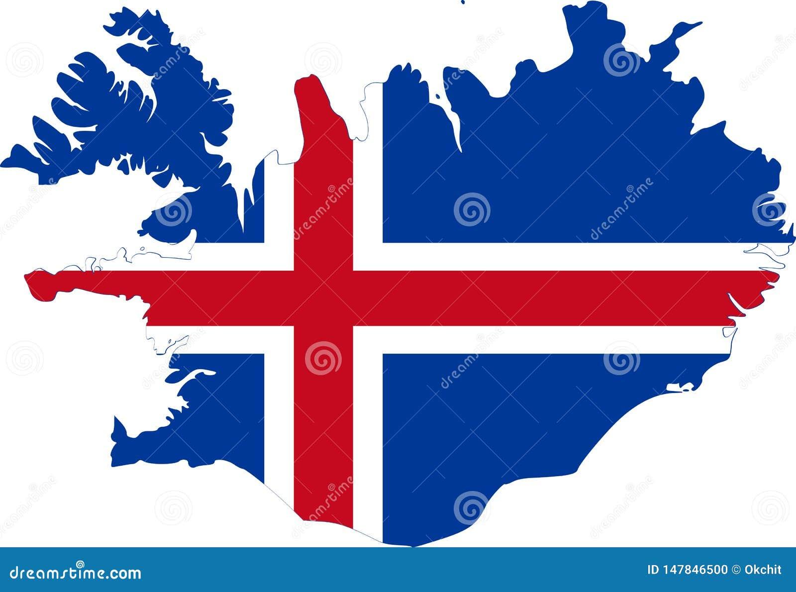 Iceland map , flag